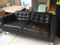 2-seat leather IKEA sofa