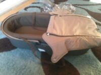 Stokke Xplory brown Foot Muff & Carrycot inc rain cover and mosquito net