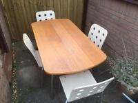 Habitat gateleg (folding) dinning table and four Ikea chairs