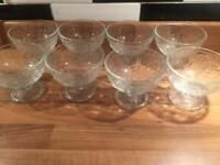 Set of 8 new glass desserts bowl.