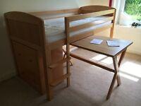 Mid Sleeper, Trestle Table, 3 Drawer Chest