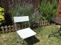 4 white Ikea breakfast chairs