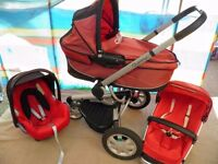 Quinny buzz 3 Red Travel System Pushchair with Carrycot and Maxi cosi cabriofix Car Seat