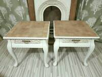 PAIR BEDSIDE TABLES WITH DRAWERS. STRIPPED WALNUT. SHABBY CHIC