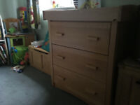 3 Drawer Wooden Chest + Changing Table (Mothercare)
