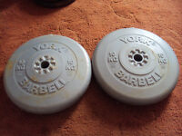 2 x 10kg York Vinyl Weight Plates