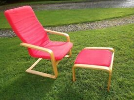 Red Rocker Comfy Chair And Footstool