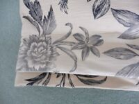 Pair of Laura Ashley Full Length Eyelet curtains in Lloyd Charcoal and Biscuit Fabric