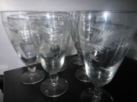 Stem Etch Glasses Vintage Set of 6 Beautiful!