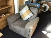 GREY LEATHER 3 Seater Sofa and Matching Armchair