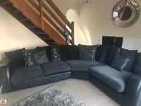 DFS Large corner black and grey sofa