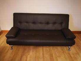 Hardly used Brown Leather Sofa Bed