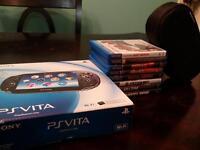 PS Vita + games, box, etc