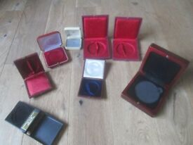 lot antique jewellery medal boxes cases some Victorian