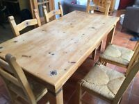 Solid pine dining table (180x90) & 6 high back chairs
