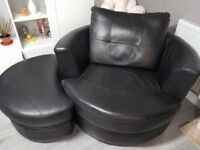 Black Leather Sofa and Armchair.
