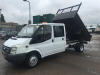 FORD TRANSIT T350L TIPPER CREW CAB YEAR 2008 57 PLATE, LOW MILEAGE, VGC IN AND OUT, DRIVES VERY WELL