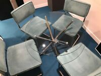 Round Glass Table with four Blue cord Chairs - pick up City of London my 26th Jan