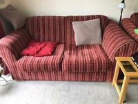TWO STRIPED SOFAS. IN GOOD CONDITION AND VERY COMFORTABLE. FREE!!