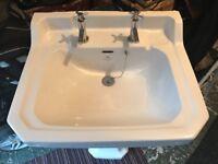 White ceramic bathroom sink,pedestal and chrome taps for sale