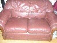 Maroon Leather 2 seater sofa settee