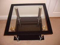 Harlequin Lamp Table - Clear Glass and Black Surround