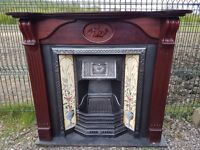 124 Cast Iron Fireplace Surround Fire Wood Tiled Insert Antique Victorian Style