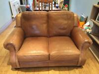BROWN LEATHER SOFA, 3 SEATER, 2 SEATER + 1FOOTSTOOL