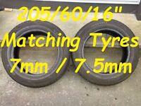 """Excellent 205/60/16"""" Tyres 7mm/7.5mm"""