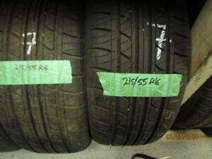 215/55R16 2 ONLY USED FUSION ALL SEASON TIRES