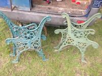 2 sets of cast iron bench ends