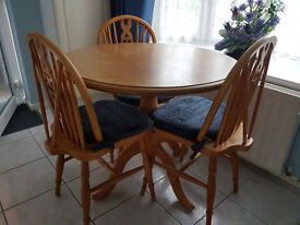 Kitchen Table Plus 3 Chairs with Cushions