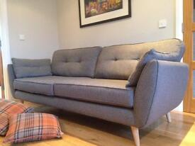 Sofa 4 seater + cuddler and footstool