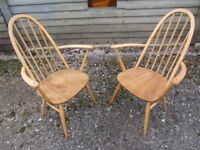 Fully Refurbished - Pair of Ercol Quaker Carver Dining Chairs - Osmo Polyx Oil