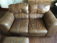 3 seater , 2 seater Leather Suite , including Leather storage foot stool.