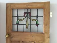 Stained glass pine 1930s glazed door panel solid wood glass