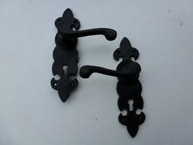 """ANTIQUE STYLE 8"""" BLACK IRON DOOR HANDLES, B.N.O.S. ..ONLY£5"""