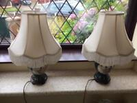 2 x large oriental green lamps