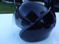 Motorcycle Crash Helmet - includes double drop visor and detachable peak.
