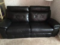 Black leather style recliner sofa