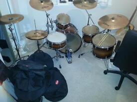 Yamaha Tour Custom Drum Kit, Zildjian/Paiste Cymbals, Janus double bass pedal [excellent condition]