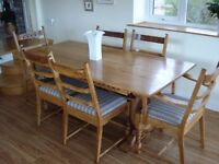 Oak Refectory Table and 6 Chairs