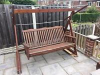 Wooden garden swing bed