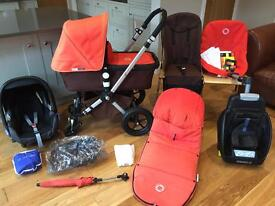 ORANGE & BROWN BUGABOO CAMELEON 2 PRAM & MAXI COSI CAR SEAT, EASY FIX BASE & MANY EXTRAS RRP £1100+