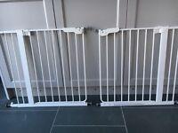 2 X white pressure stair gates, £10 each, Eaton NR4