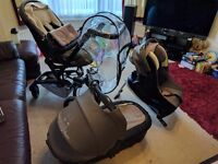 Jane Rider Travel System - pushchair, car seat & base, carrycot car seat, cosy toes and rain cover