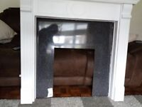 Painted fire surround and backing board