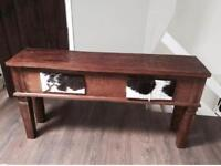 Solid Dark wood low hall table cow hide lamp table drawers