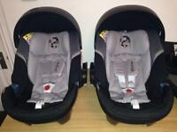 Cybex Aton 4 Group 0+ Car Seat (Moon Dust) & Cybex Base Q Isofix (2015) x 2