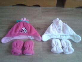 2 X BABY GIRL HAT & GLOVE SETS, 0-3 MONTHS, VGC